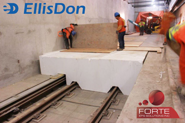 Custom EPS foam Cutting Solution for EllisDon Civil at the York University Station by Forte EPS Solutions Toronto ON